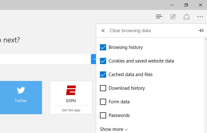 Supprimer l'historique de navigation: Microsoft Edge