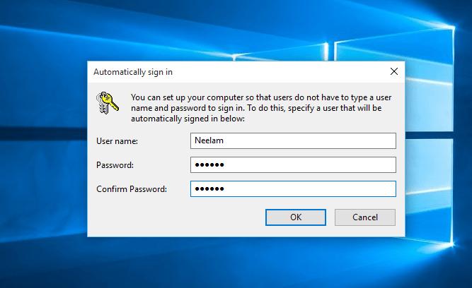 Se connecter automatiquement dans Windows 10 sans entrer de mot de passe