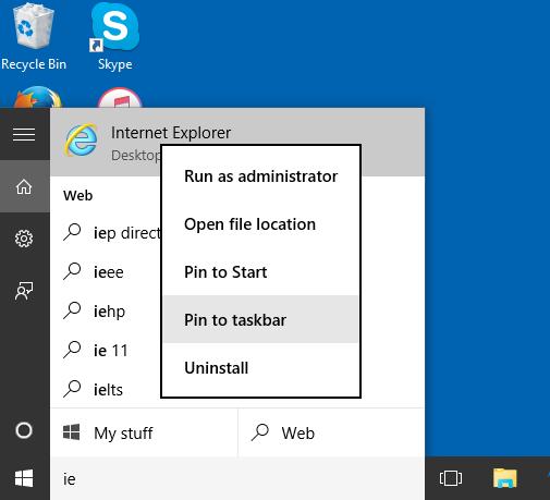 Comment ouvrir Internet Explorer dans Windows 10