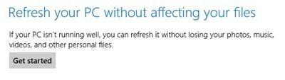 rafraîchir votre PC sans affecter les fichiers