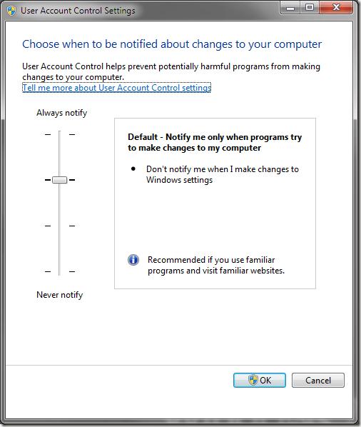 Paramètres de contrôle de compte d'utilisateur (UAC) Windows 7
