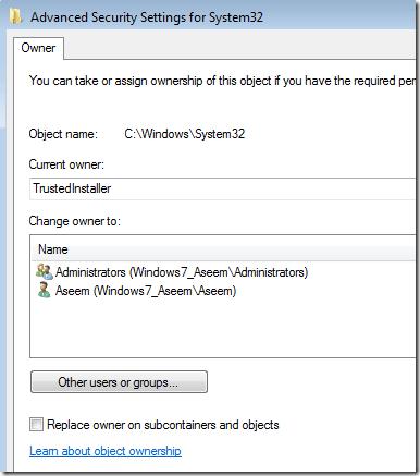 changer de propriétaire windows 7