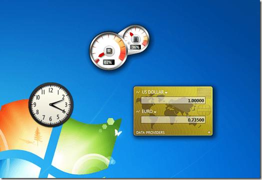 Gadgets flottant sur le bureau Windows 7