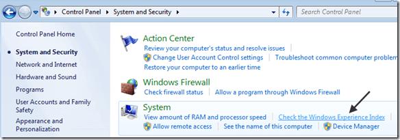 indice d'expérience windows 7