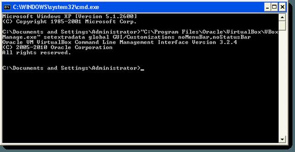 La commande pour désactiver la barre de menus et la barre d'état dans VirtualBox