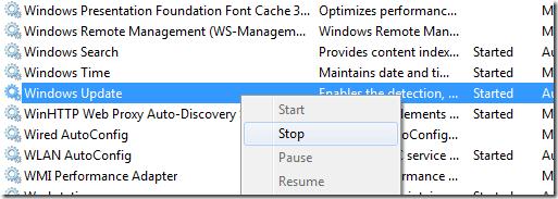 arrêter le service de mise à jour de Windows