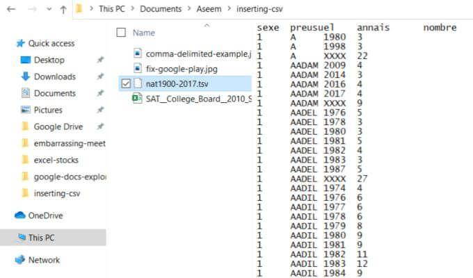 1607599705 661 Comment inserer CSV ou TSV dans une feuille de calcul