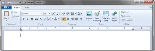 Ruban WordPad Windows 7