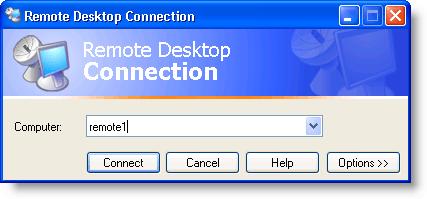 Boîte de dialogue Connexion Bureau à distance