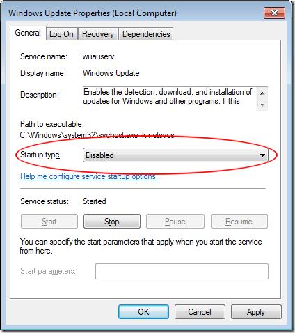 Définir le type de démarrage dans le service de mise à jour Windows 7