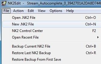 nouveau fichier nk2