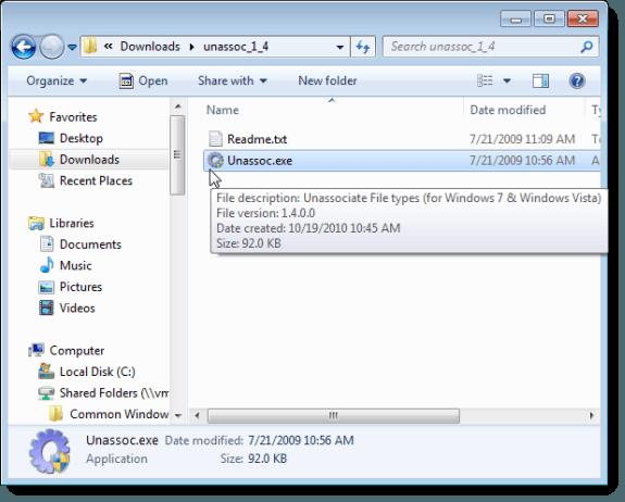 Ouverture de types de fichiers non associés
