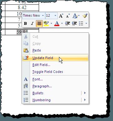 Mise à jour du champ de somme dans Word 2007