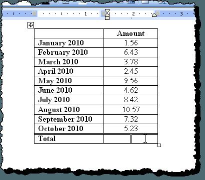 Tableau de sommation dans Word 2003
