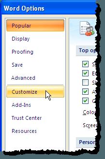 En cliquant sur l'option Personnaliser dans la boîte de dialogue Options Word