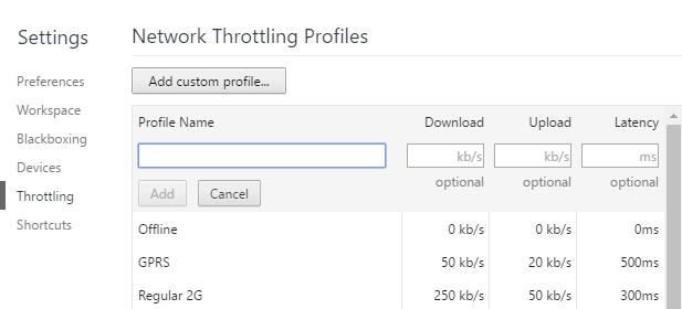 ajouter un profil de limitation du réseau