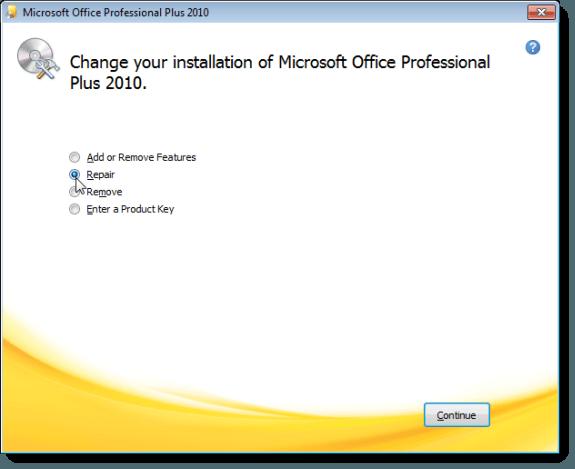 Choisir de réparer votre installation Microsoft Office 2010