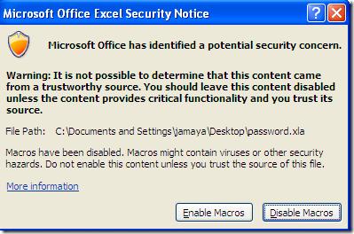 Avis de sécurité Microsoft Office Excel