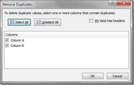 Options de suppression des enregistrements en double Excel
