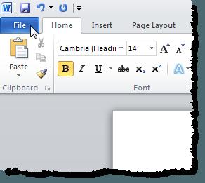 En cliquant sur l'onglet Fichier dans Word 2010