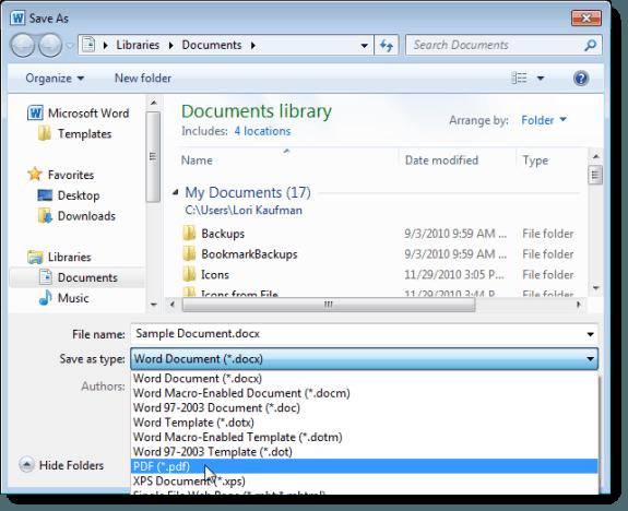 Sélection de PDF comme type de fichier dans Word 2010