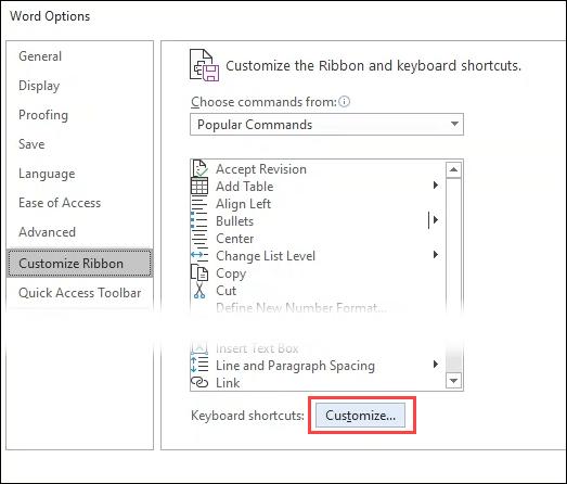 1607815080 726 Creer ou generer des raccourcis clavier pour Microsoft Office