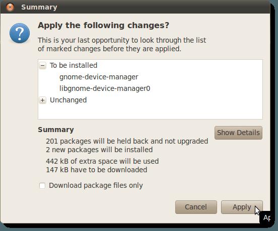 Résumé des changements à appliquer