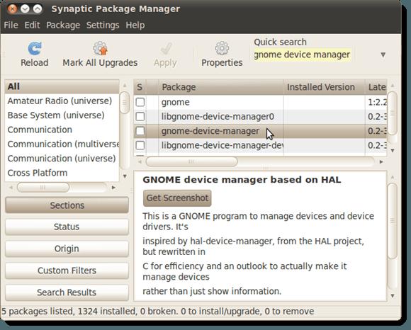 Sélection du gestionnaire de périphériques GNOME pour l'installation