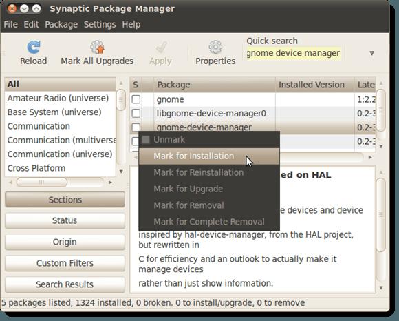 Marquage de gnome-device-manager pour l'installation