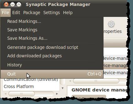 Fermer le gestionnaire de packages Synaptic