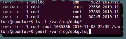 Ouverture du fichier dpkg.log