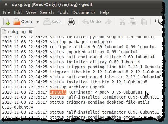 Le fichier dpkg.log ouvert dans gedit