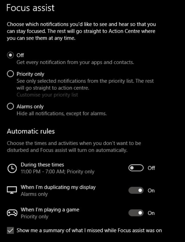 1607829972 991 Utilisez Focus Assist pour controler les notifications dans Windows 10