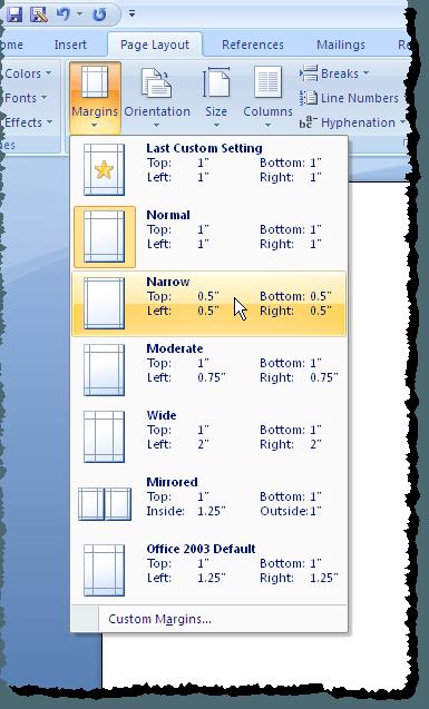 Sélection de marges temporaires dans Word 2007