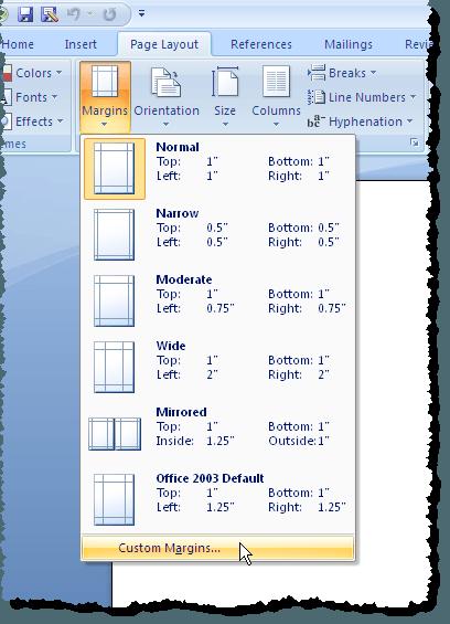 Sélection de marges personnalisées dans Word 2007