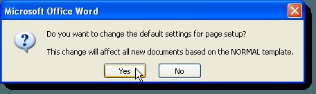 Boîte de dialogue de confirmation de modification de la mise en page dans Word 2007