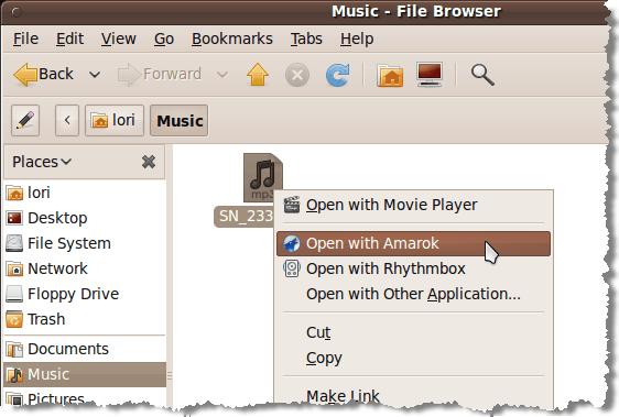 Ouverture du fichier .mp3 avec Amarok
