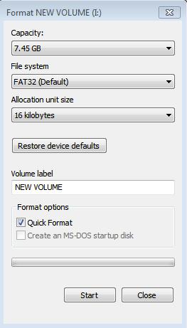 outil de formatage usb