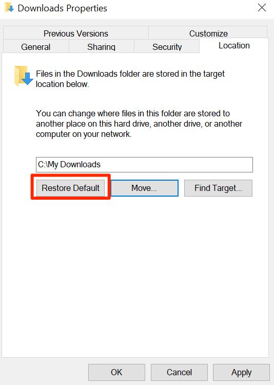 1607891083 379 Comment changer lemplacement de telechargement par defaut dans Windows 10