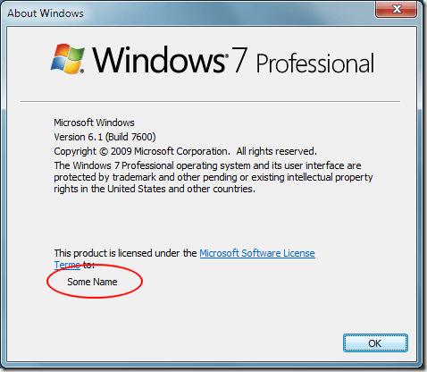 Le nouveau nom enregistré dans Windows 7