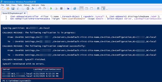 1607976318 245 Forcer la replication entre deux controleurs de domaine dans Active