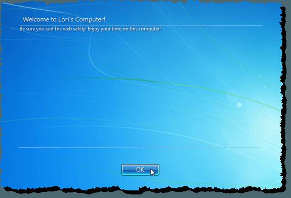 Message sur l'écran de connexion