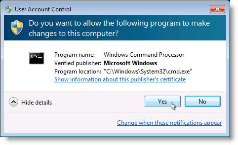 Avertissement de contrôle de compte d'utilisateur