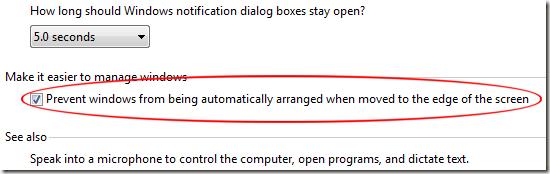 Empêcher Windows d'être automatiquement organisé lorsqu'il est déplacé vers le bord de l'écran