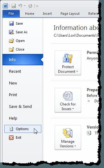 En cliquant sur Options sous l'onglet Fichier dans Word 2010