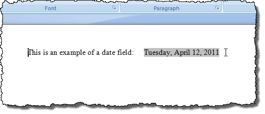 Exemple d'ombrage de champ dans Word 2007