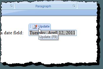 Mise à jour d'un champ dans Word 2007