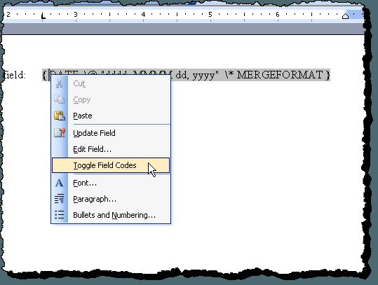 Sélection des codes de champ à bascule dans Word 2003