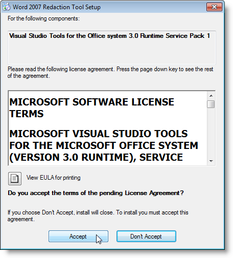 Contrat de licence pour les outils Visual Studio pour Office