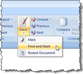 Sélection de l'option Rechercher et marquer